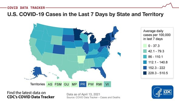 US COVID-19 Cases in the Last 7 Days by State. Details and latest data available on CDC's COVID Data Tracker website. Data as of 4/13/2021.