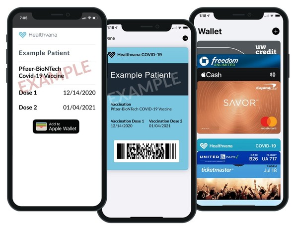 Digital Vaccine Records - image of mobile phones showing vaccine card