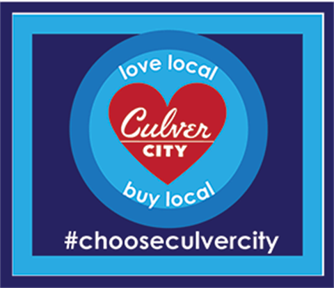 """love local by local #chooseculvercity; red heart with """"Culver City"""" in center of the heart"""