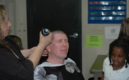 Principal getting head shaved for read a thon