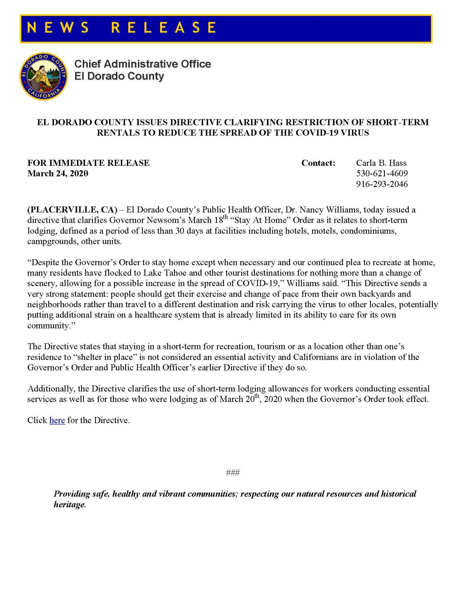 PR 20-11 COVID19 VHR Directive