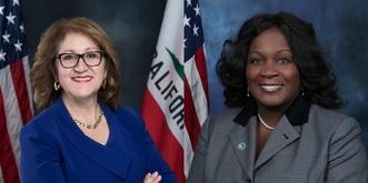 Assemblywoman Eloise Reyes and Mayor Acquanetta Warren