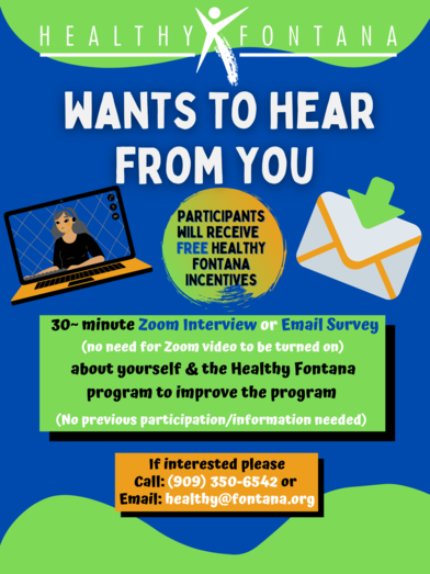 Healthy Fontana Interview Flyer