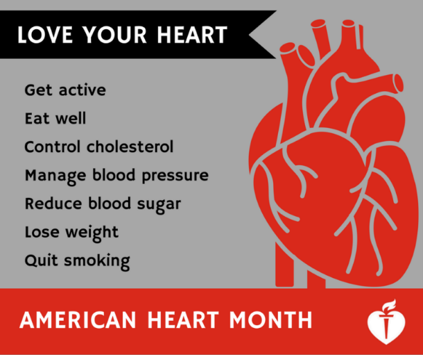 Graphic of heart with 'American Heart Month' and tips on how to keep your heart healthy