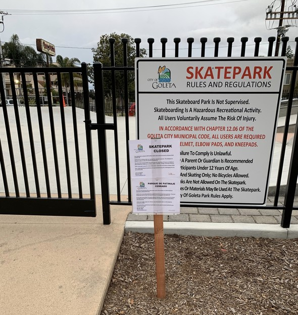 Skatepark Closed COVID-19 Safety Measure