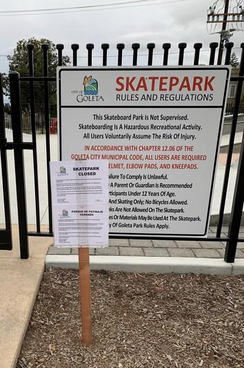 COVID-19 Skatepark Closure