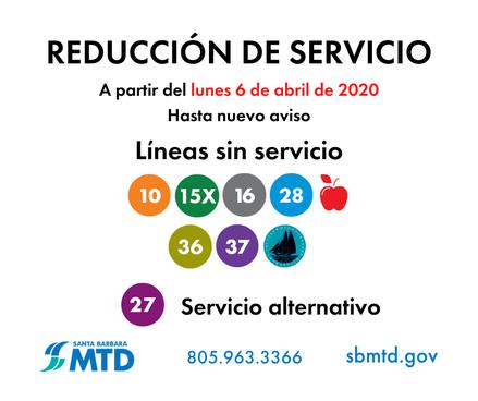 MTD Service Reduction_200406_Spanish