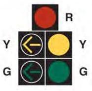 An image of a 5-light traffic signal