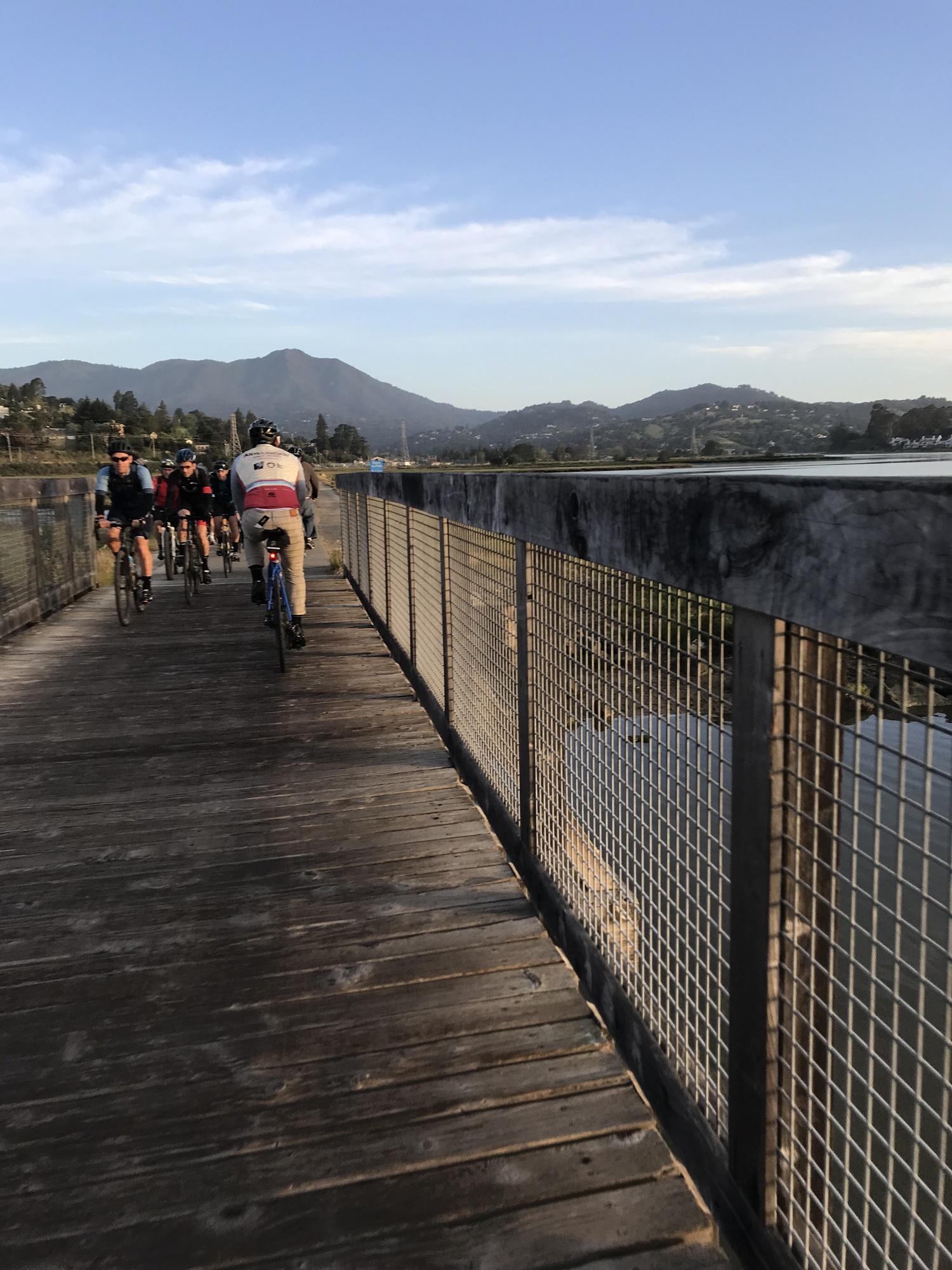 Lorenzo Cordova riding the Sausalito Multi-Use Path with Mt. Tam in the foreground