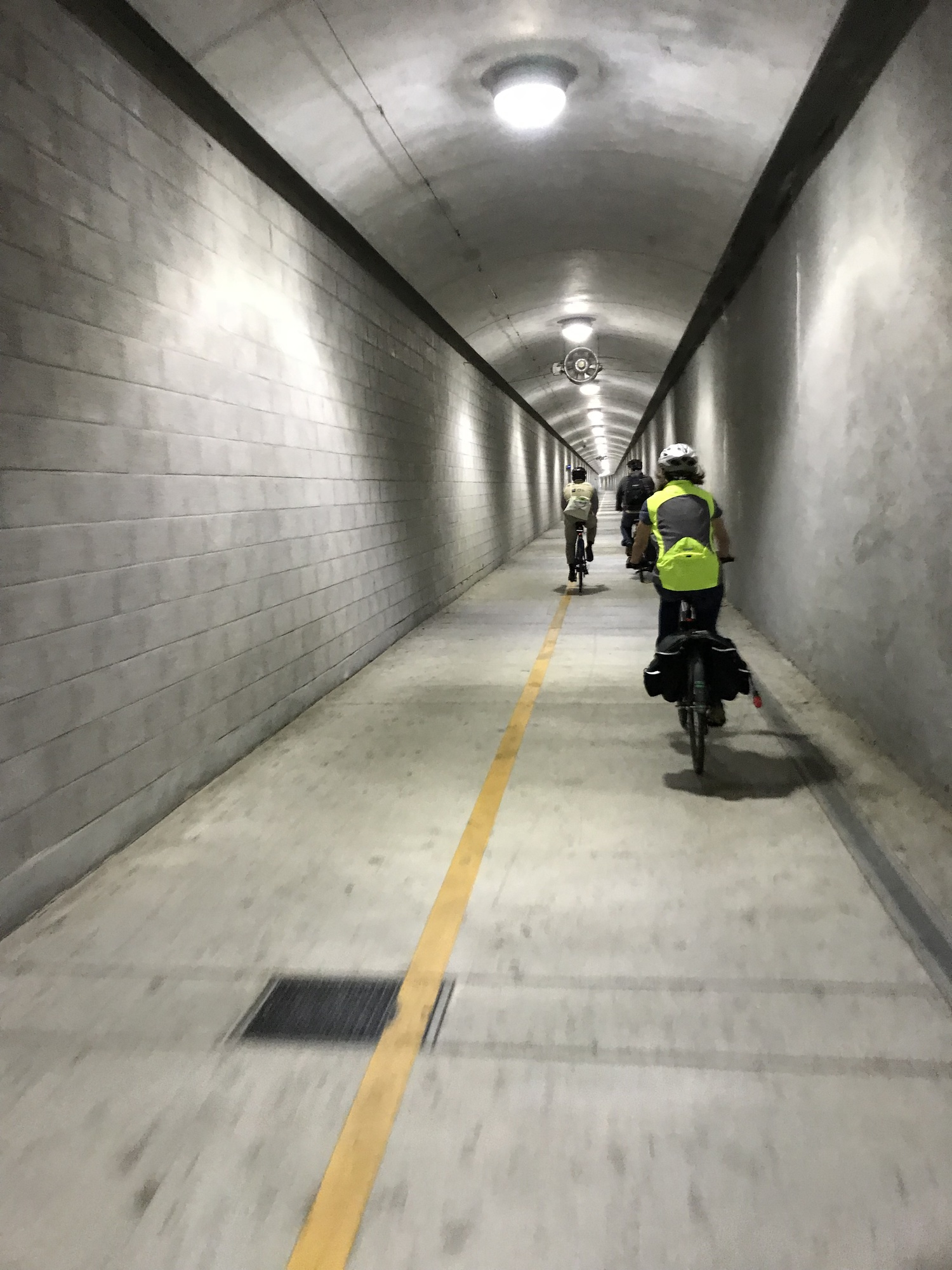 Supervisor Rice riding through the Cal Park Tunnel