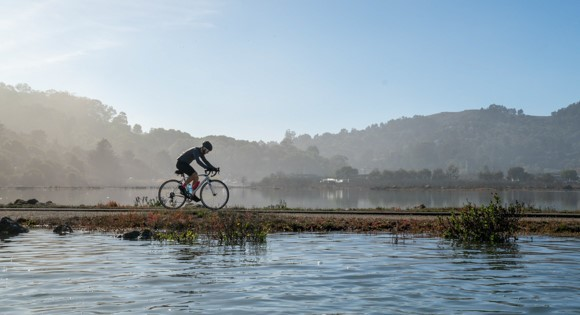 Sausalito Mill Valley Multi-Use Trail along Bothin Marsh at high tide. Photo by Dana Lui, Marin County Parks.