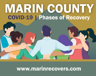 Marin Recovers artwork showing seven people shoulder to shoulder