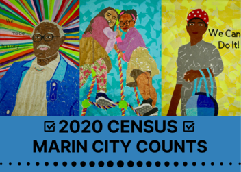 A postcard with people on it and the phrase Census 2020 Marin City Counts