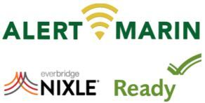 Logos for Alert Marin Nixle and Ready