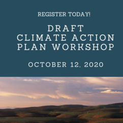 Above a landscape of green hills and white clouds is an invitation to register to participate in a workshop for the draft Climate Action Plan