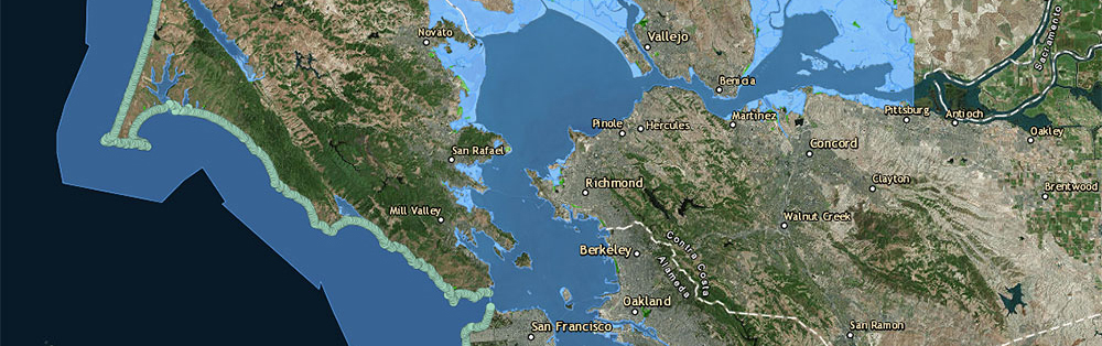 Map of Marin County and Sea Level Rise Projections