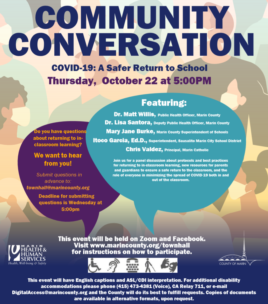Community Conversation Graphic.  Accessible language available at marincounty.org/townhall