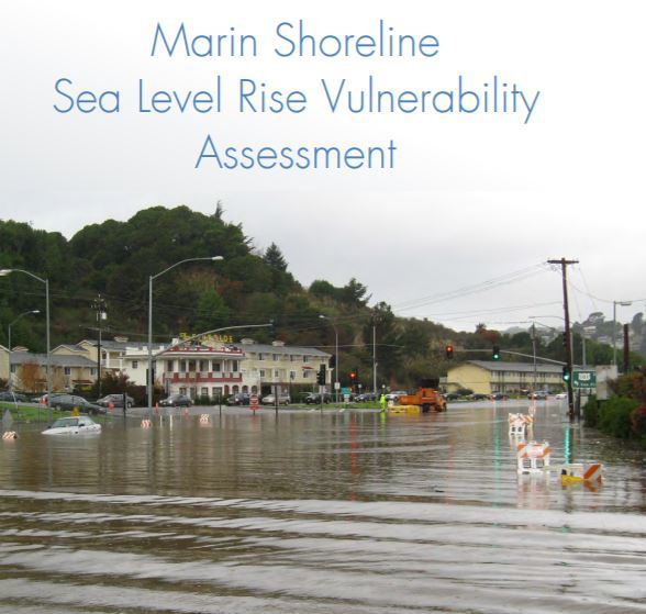 Flooding near Manzanita Park and Ride with Fireside Apartments in the background