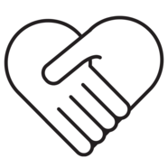 The outline of two hands together forming a heart shape