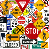 A multi-color collage of traffic signs