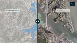 A map showing marshland in 1851 versus 2018