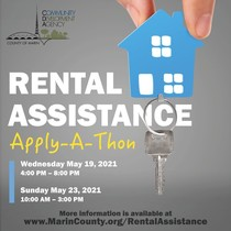 Announcement for rental assistance apply-a-thon with dates and times.