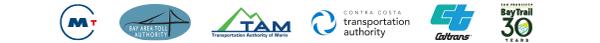 Logos for six partner agencies: MTC, BATA, TAM, CCTA, Caltrans and Bay Trail.
