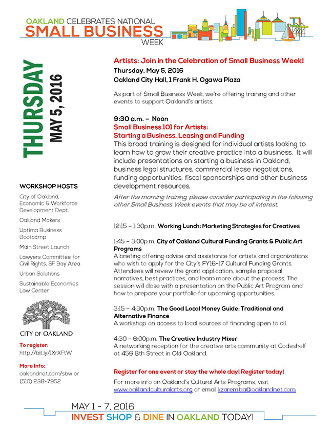 SBW Small Business 101 for Artists Flyer