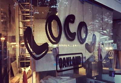 LocoL Oakland logo on new store window