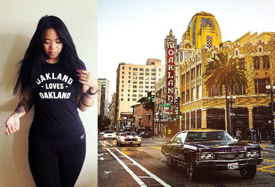 Photograph of the Fox theater from @weloveoakland instagram with t-shirt from Sky Oak