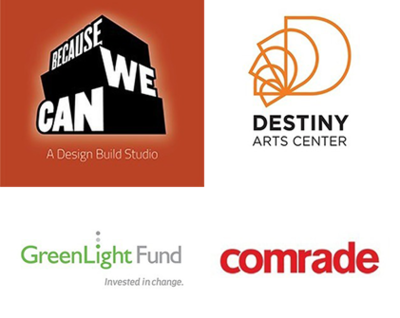 NewCo logos for companies Greenlight Becuase We Can Comrade and Destiny Arts