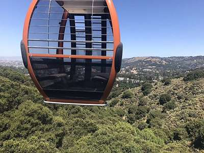 A gondola over the Oakland HIlls on the way to the Landing Cafe