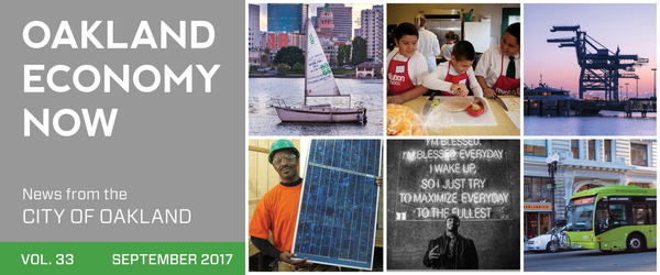 September Masthead Oakland Economy Now news from the City of Oakland with images of lake merritt cranes B shuttle and marshawn lynch