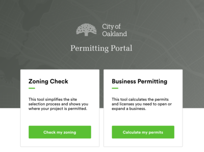 Oakland Business Permitting and zoning check apps