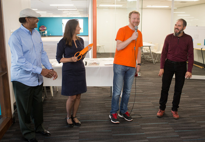 Councimember Larry Reid and Mayor Libby Schaaf with Type A Machines Founder Andrew Rutter and Circuit Launch Founder ERik Katz at Grand Opening event