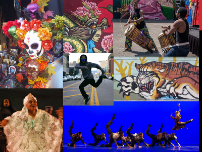 Cultural Arts collage of dancers murals and other arts