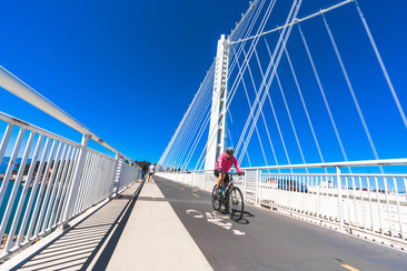bicyclist on the bike path on the Oakland span of the Bay Bridge
