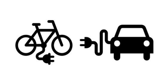 Illustration of plug in bike and car
