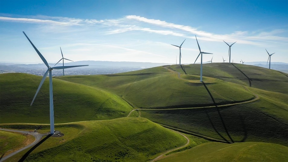 Wind turbines on green hill in the East Bay Area