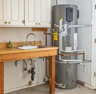Heat pump water heater in garage.