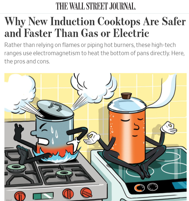 Pot on induction stove next to pot on gas stive
