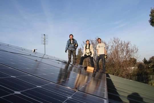 Installing solar on a rooftop