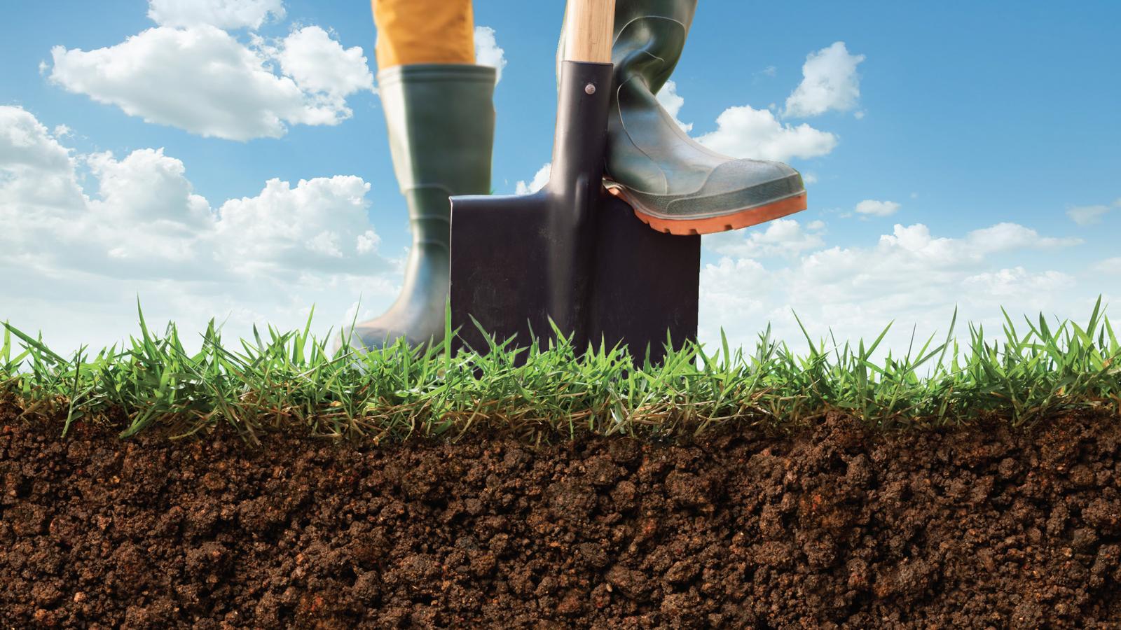 Foot pushing shovel into earth.