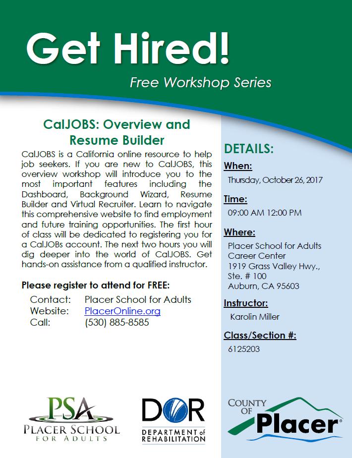 get hired free workshop caljobs overview resume builder 10 26 17