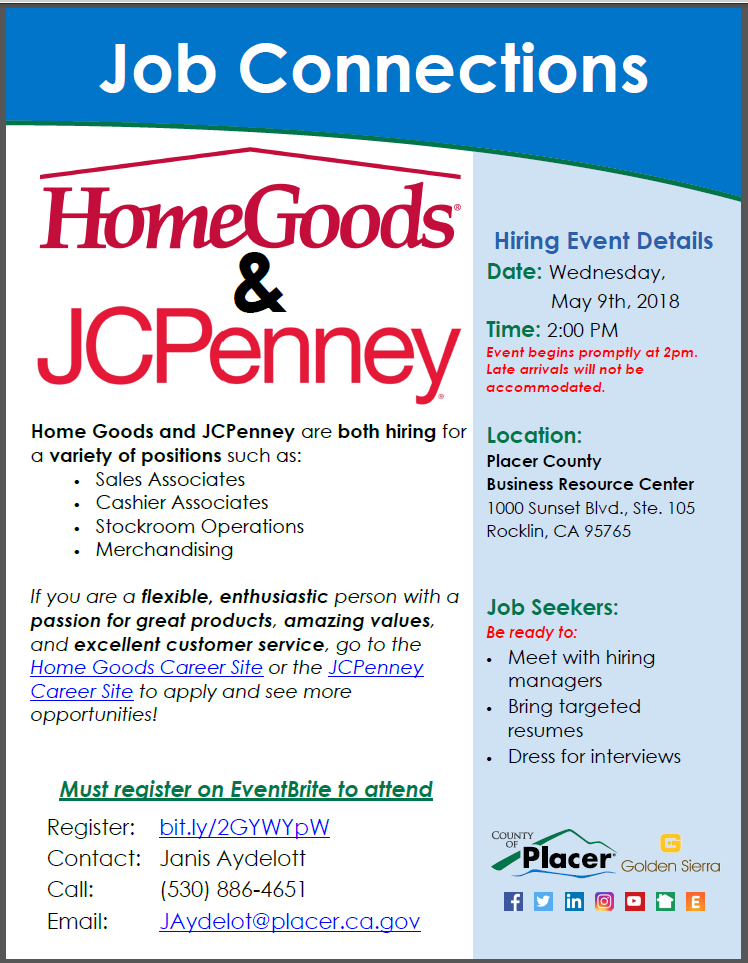 reminder job connections with homegoods jcpenney tomorrow 5 9