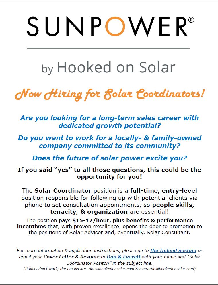 Now Hiring Solar Sales Coordinators In Rocklin Sunpower By Hooked On Solar