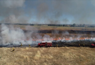 Fire fighters spraying water on grassland fire