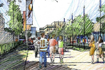 Drawing of students on a bustling university campus