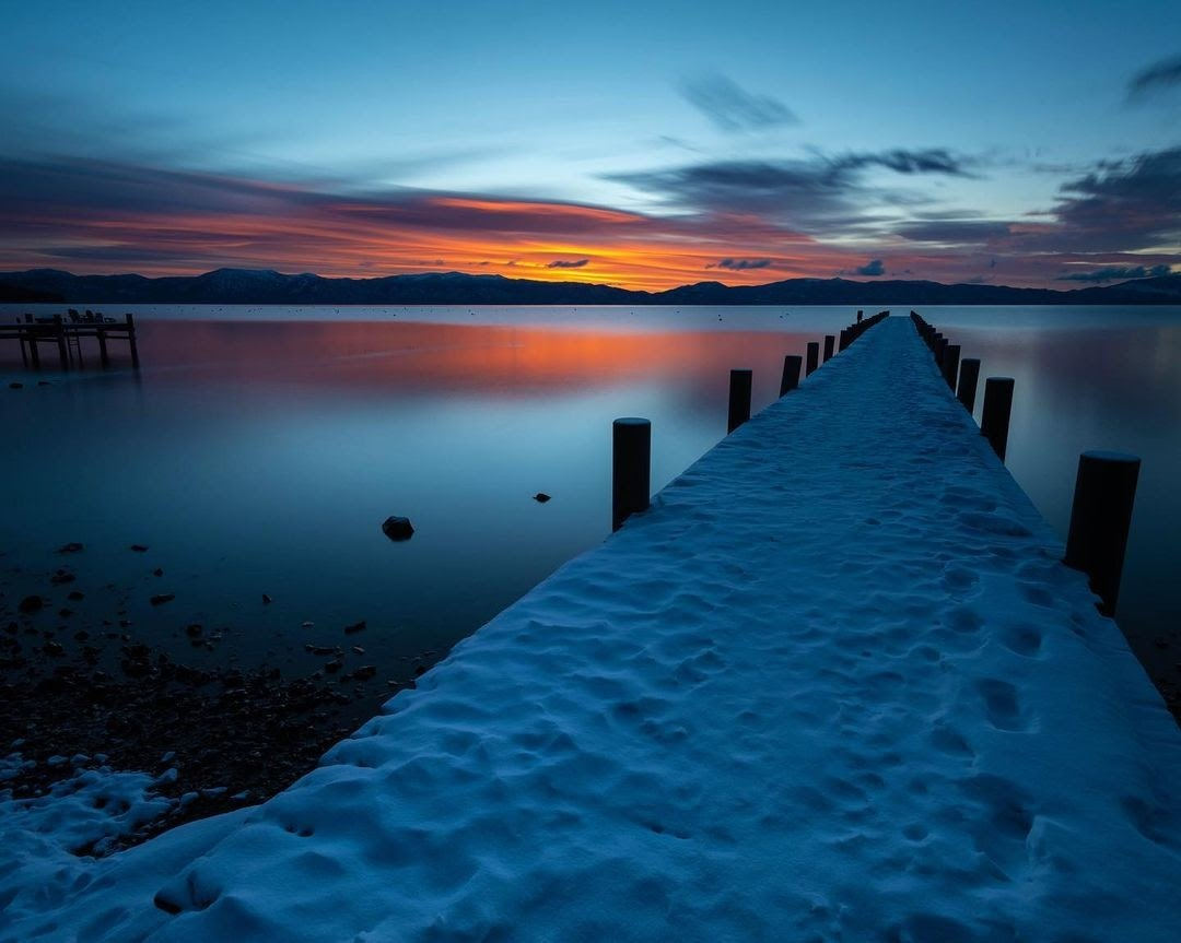 Photo of Lake Tahoe at sunset.