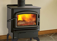 Photo of  a wood burning stove.